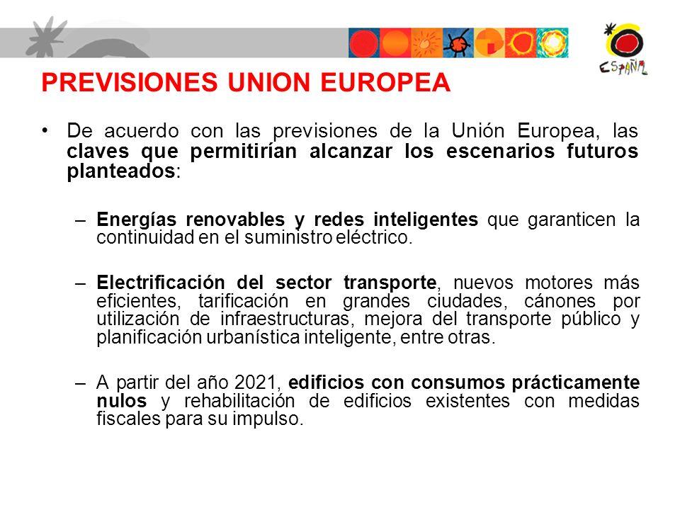 PREVISIONES UNION EUROPEA De acuerdo con las previsiones de la Unión Europea, las claves que permitirían alcanzar los escenarios futuros planteados: –Energías renovables y redes inteligentes que garanticen la continuidad en el suministro eléctrico.