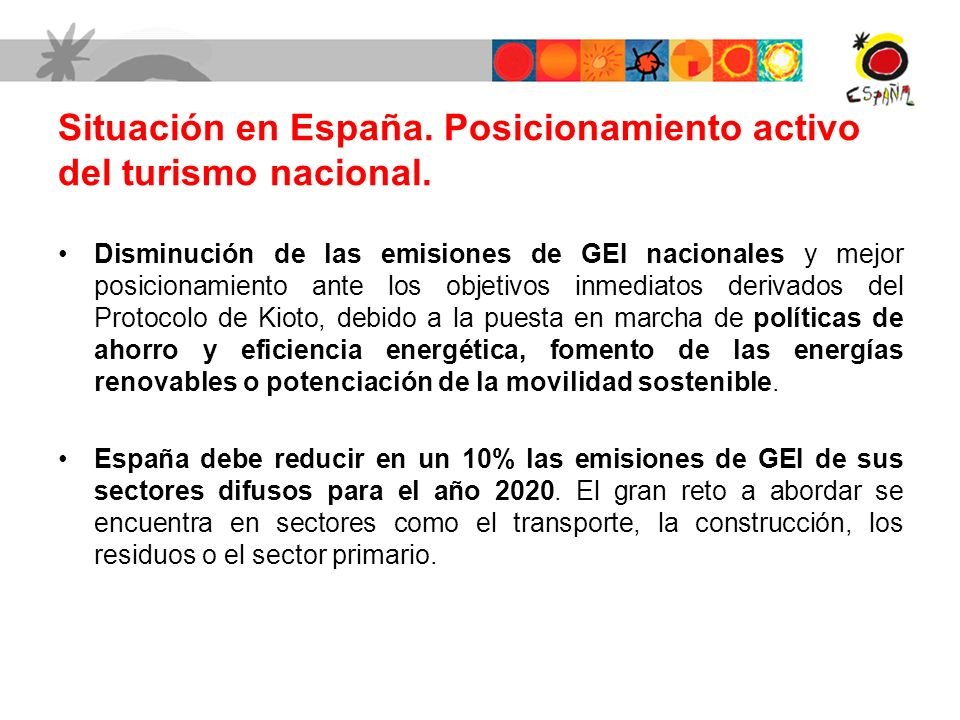 Situación en España. Posicionamiento activo del turismo nacional. Disminución de las emisiones de GEI nacionales y mejor posicionamiento ante los obje
