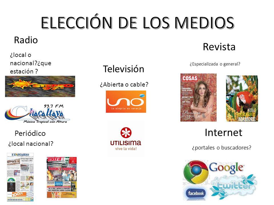 Radio Televisión Revista Periódico Internet ¿local o nacional?¿que estación ? ¿Abierta o cable? ¿Especializada o general? ¿local nacional? ¿portales o