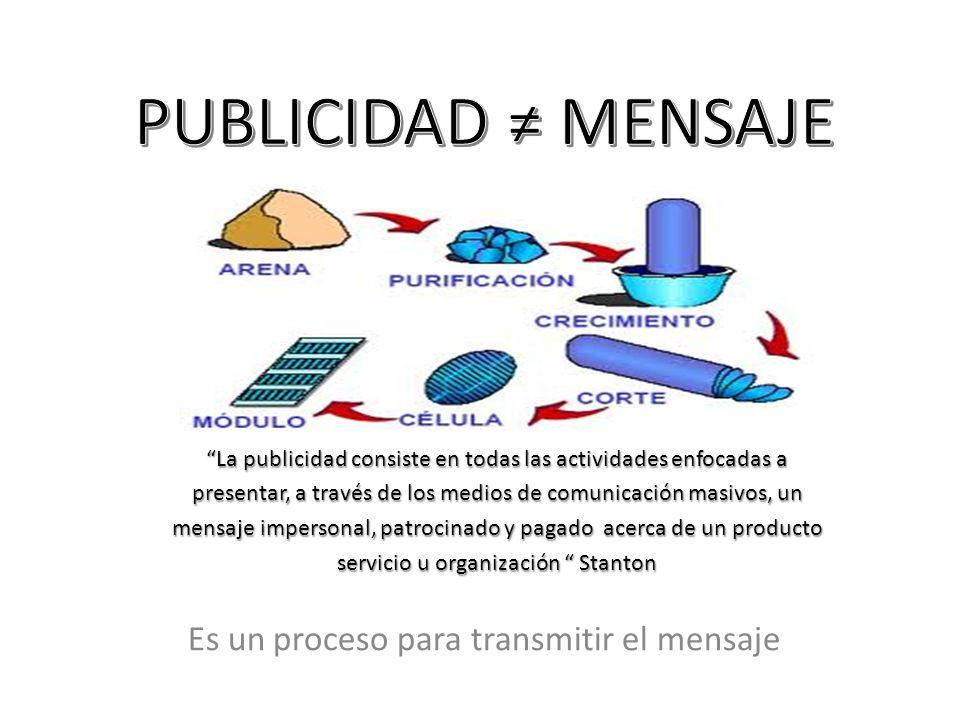 Es un proceso para transmitir el mensaje La publicidad consiste en todas las actividades enfocadas a presentar, a través de los medios de comunicación