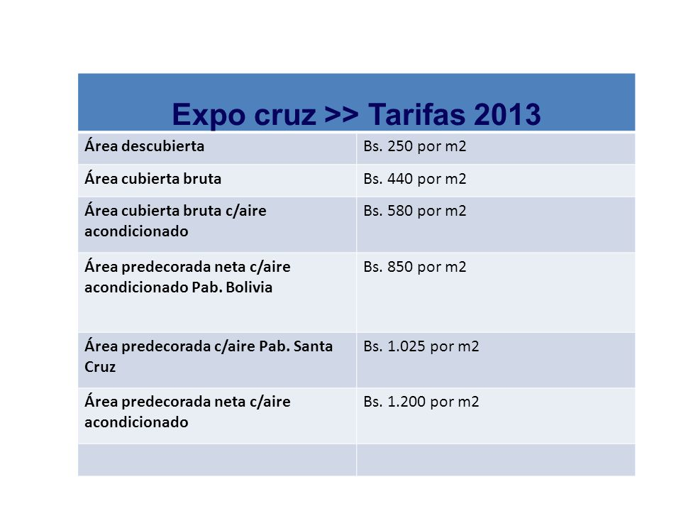 Expo cruz >> Tarifas 2013 Área descubiertaBs. 250 por m2 Área cubierta brutaBs. 440 por m2 Área cubierta bruta c/aire acondicionado Bs. 580 por m2 Áre