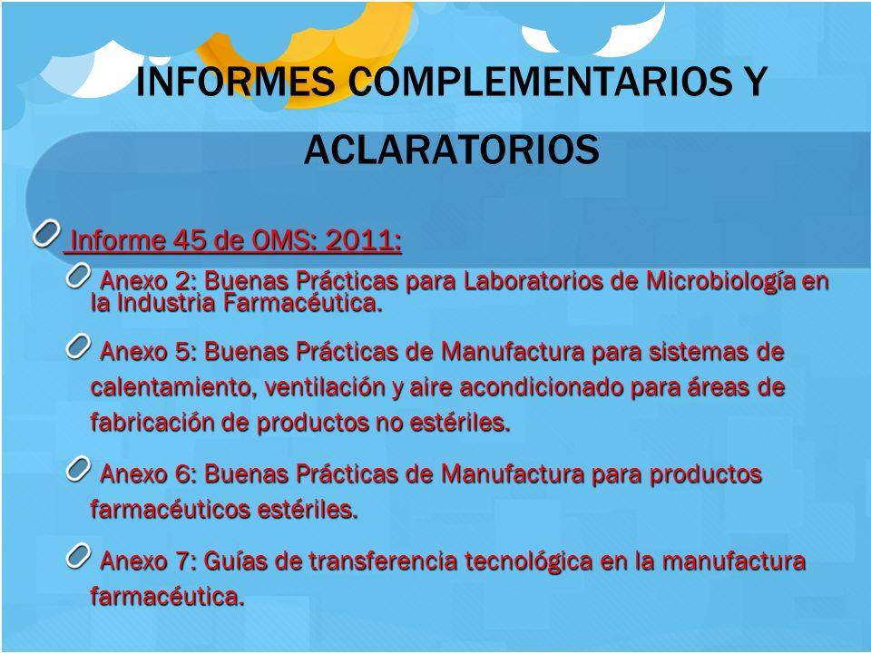 10 INFORMES COMPLEMENTARIOS Y ACLARATORIOS Informe 45 de OMS: 2011: Informe 45 de OMS: 2011: Anexo 2: Buenas Prácticas para Laboratorios de Microbiolo