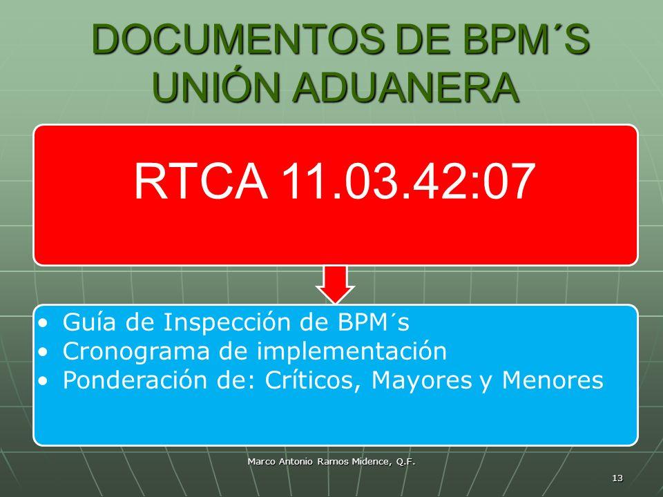 Marco Antonio Ramos Midence, Q.F. 13 DOCUMENTOS DE BPM´S UNIÓN ADUANERA DOCUMENTOS DE BPM´S UNIÓN ADUANERA RTCA 11.03.42:07 Guía de Inspección de BPM´