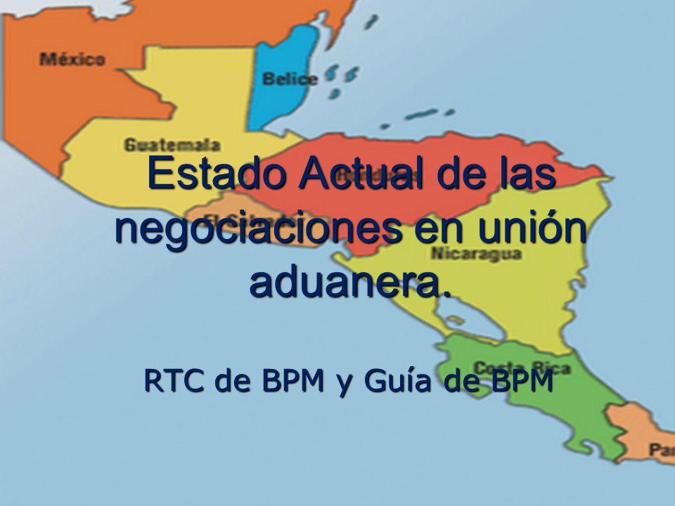 Marco Antonio Ramos Midence, Q.F. 14 Estado Actual de las negociaciones en unión aduanera. RTC de BPM y Guía de BPM