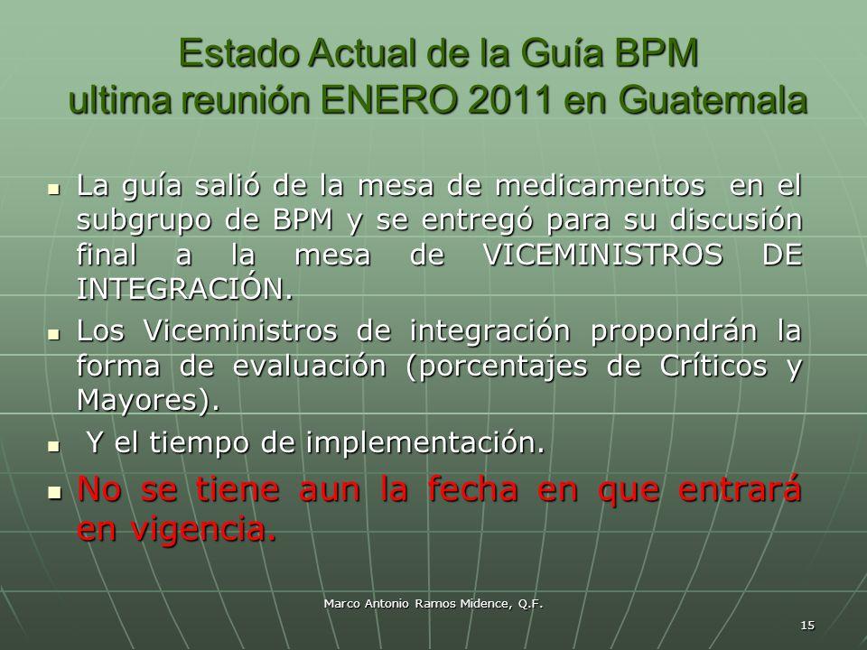 Marco Antonio Ramos Midence, Q.F. 15 Estado Actual de la Guía BPM ultima reunión ENERO 2011 en Guatemala La guía salió de la mesa de medicamentos en e