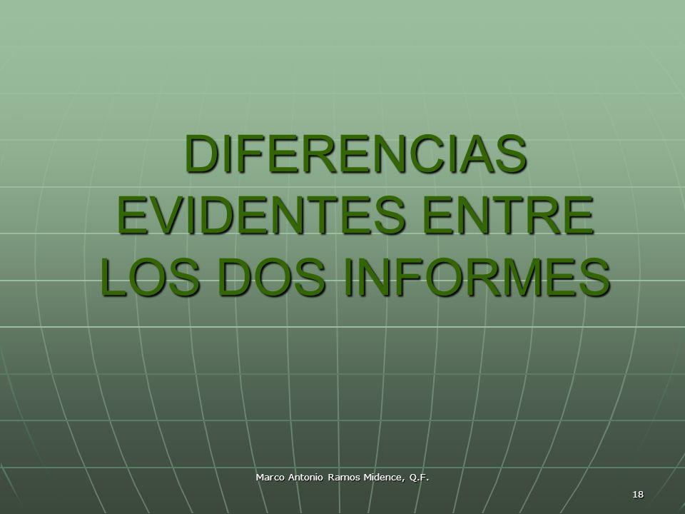 Marco Antonio Ramos Midence, Q.F. 18 DIFERENCIAS EVIDENTES ENTRE LOS DOS INFORMES