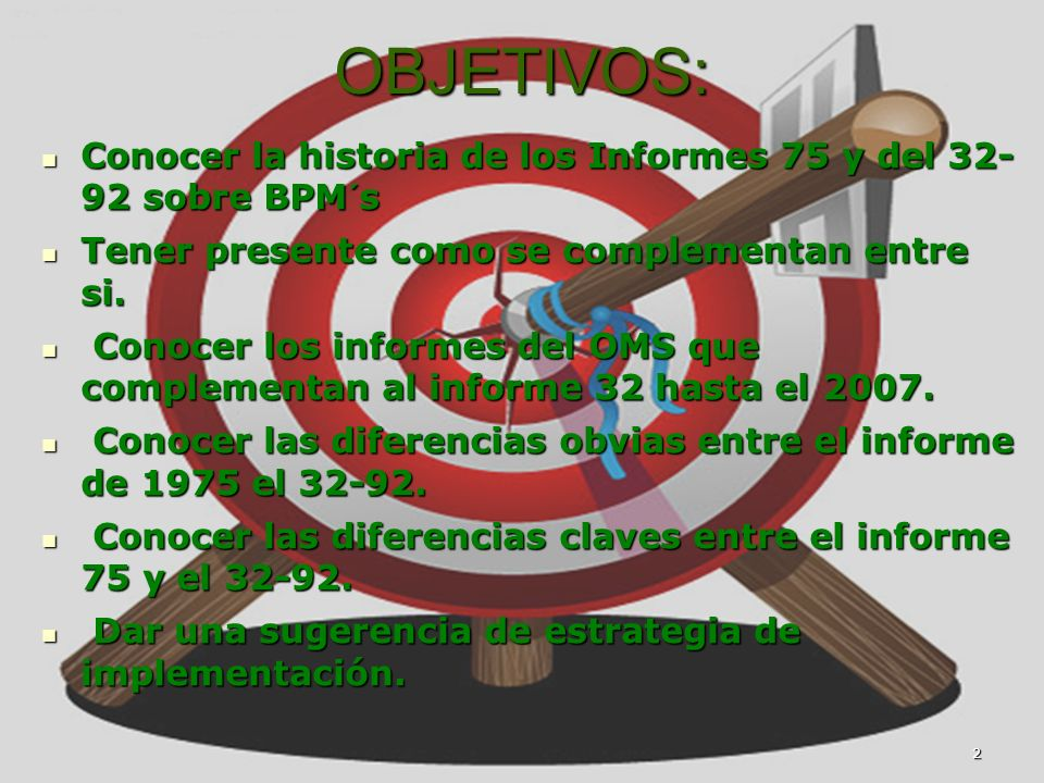 2 Marco Antonio Ramos Midence, Q.F. OBJETIVOS: Conocer la historia de los Informes 75 y del 32- 92 sobre BPM´s Conocer la historia de los Informes 75