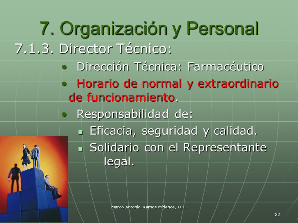Marco Antonio Ramos Midence, Q.F. 22 7. Organización y Personal 7.1.3. Director Técnico: Dirección Técnica: Farmacéutico Dirección Técnica: Farmacéuti