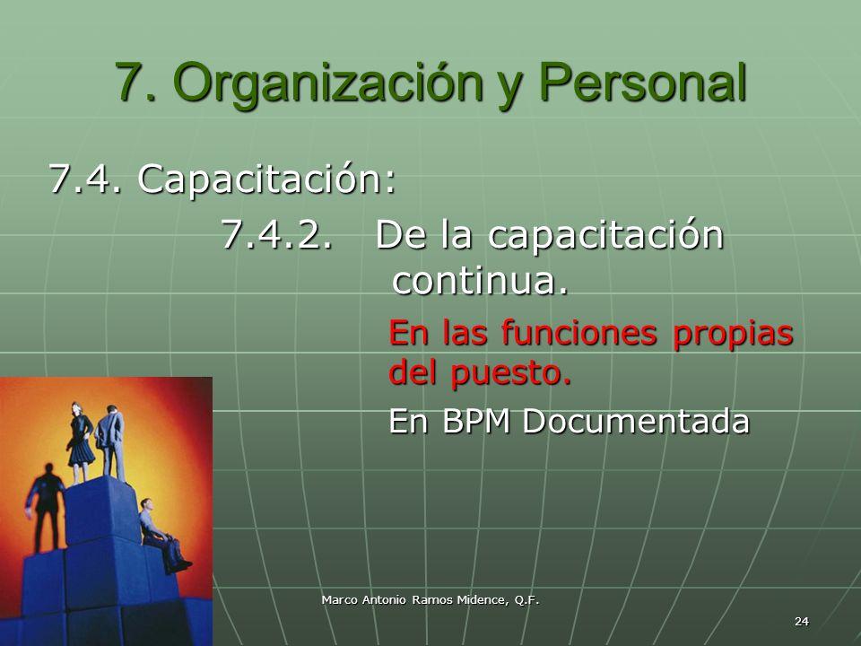 Marco Antonio Ramos Midence, Q.F. 24 7. Organización y Personal 7.4. Capacitación: 7.4.2. De la capacitación continua. En las funciones propias del pu