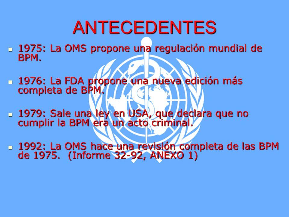 Marco Antonio Ramos Midence, Q.F. 3 ANTECEDENTES 1975: La OMS propone una regulación mundial de BPM. 1975: La OMS propone una regulación mundial de BP