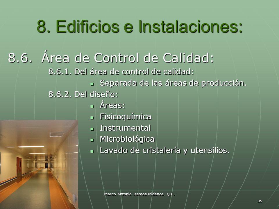 Marco Antonio Ramos Midence, Q.F. 35 8. Edificios e Instalaciones: 8.6. Área de Control de Calidad: 8.6.1. Del área de control de calidad: Separada de