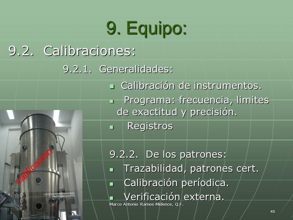 Marco Antonio Ramos Midence, Q.F. 45 9. Equipo: 9.2. Calibraciones: 9.2.1. Generalidades: 9.2.1. Generalidades: Calibración de instrumentos. Calibraci
