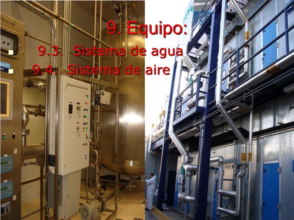 Marco Antonio Ramos Midence, Q.F. 46 9. Equipo: 9.3. Sistema de agua 9.3. Sistema de agua 9.4. Sistema de aire 9.4. Sistema de aire