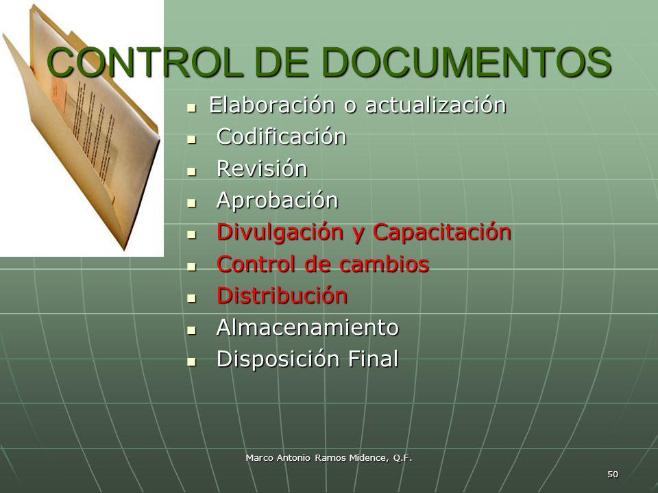 Marco Antonio Ramos Midence, Q.F. 50 CONTROL DE DOCUMENTOS Elaboración o actualización Elaboración o actualización Codificación Codificación Revisión