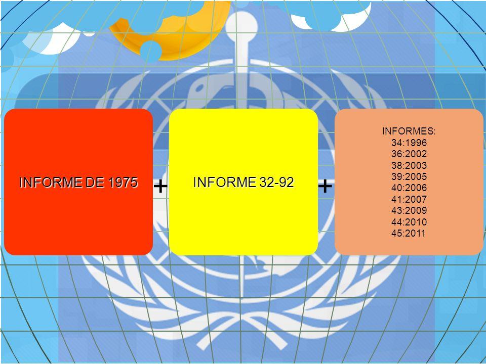 7 INFORMES COMPLEMENTARIOS Y ACLARATORIOS Después de 1992, la OMS, continúa fortaleciendo la norma, ampliándola con otros informes que aclaran temas del informe 32- 92.
