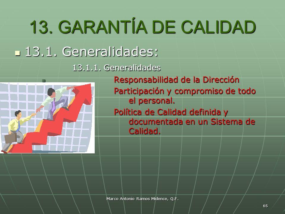 Marco Antonio Ramos Midence, Q.F. 65 13. GARANTÍA DE CALIDAD 13.1. Generalidades: 13.1. Generalidades: 13.1.1. Generalidades 13.1.1. Generalidades Res