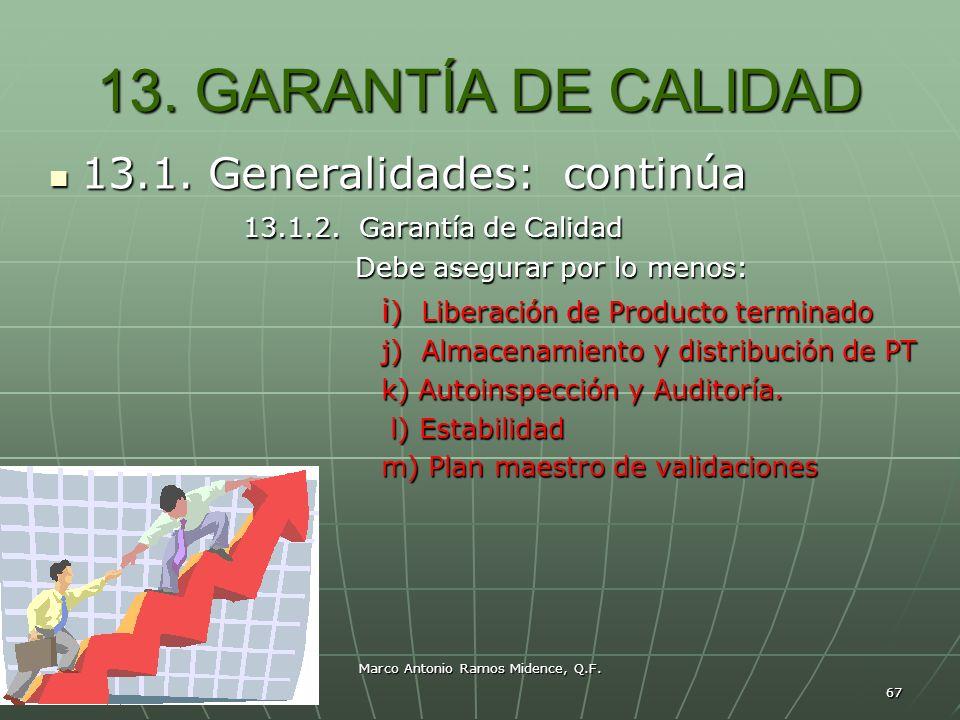 Marco Antonio Ramos Midence, Q.F. 67 13. GARANTÍA DE CALIDAD 13.1. Generalidades: continúa 13.1. Generalidades: continúa 13.1.2. Garantía de Calidad 1