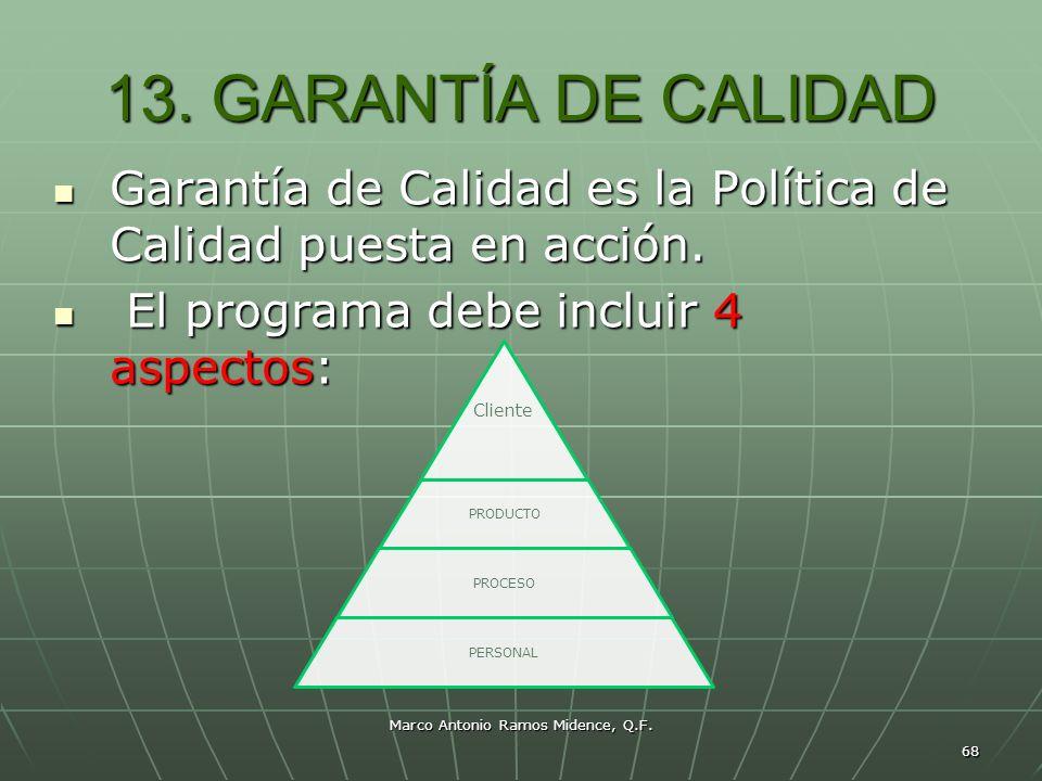 Marco Antonio Ramos Midence, Q.F. 68 13. GARANTÍA DE CALIDAD Garantía de Calidad es la Política de Calidad puesta en acción. Garantía de Calidad es la