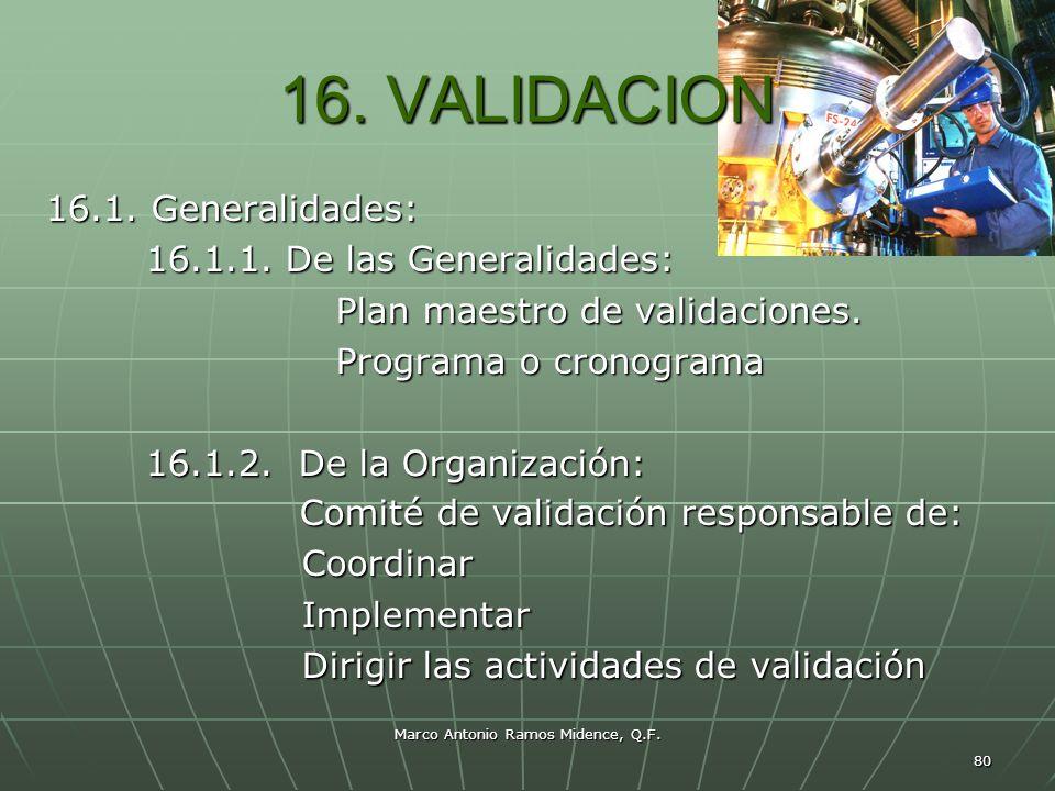 Marco Antonio Ramos Midence, Q.F. 80 16. VALIDACION 16.1. Generalidades: 16.1.1. De las Generalidades: 16.1.1. De las Generalidades: Plan maestro de v