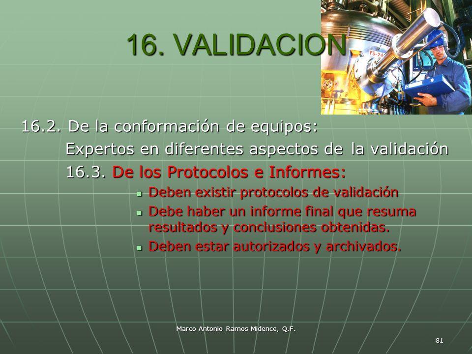 Marco Antonio Ramos Midence, Q.F. 81 16. VALIDACION 16.2. De la conformación de equipos: Expertos en diferentes aspectos de la validación Expertos en