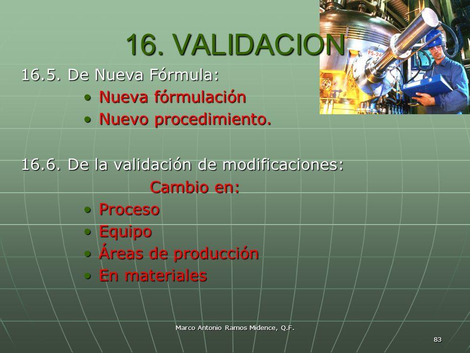 Marco Antonio Ramos Midence, Q.F. 83 16. VALIDACION 16.5. De Nueva Fórmula: Nueva fórmulaciónNueva fórmulación Nuevo procedimiento.Nuevo procedimiento
