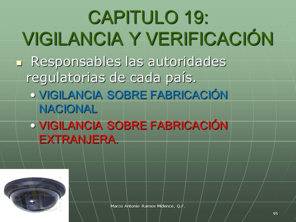 Marco Antonio Ramos Midence, Q.F. 95 CAPITULO 19: VIGILANCIA Y VERIFICACIÓN Responsables las autoridades regulatorias de cada país. Responsables las a