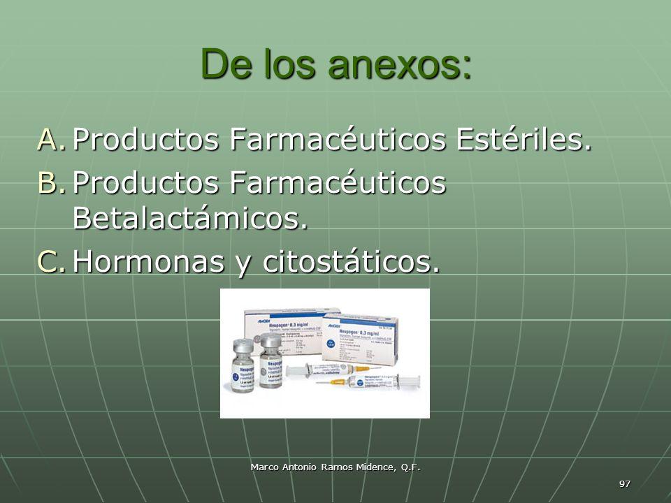 Marco Antonio Ramos Midence, Q.F. 97 De los anexos: A. Productos Farmacéuticos Estériles. B. Productos Farmacéuticos Betalactámicos. C. Hormonas y cit