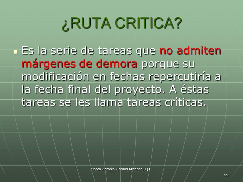 Marco Antonio Ramos Midence, Q.F. 99 ¿RUTA CRITICA? Es la serie de tareas que no admiten márgenes de demora porque su modificación en fechas repercuti