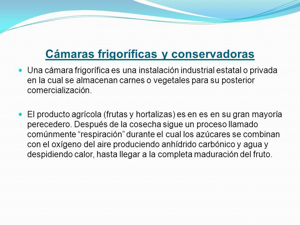 Cámaras frigoríficas y conservadoras Una cámara frigorífica es una instalación industrial estatal o privada en la cual se almacenan carnes o vegetales