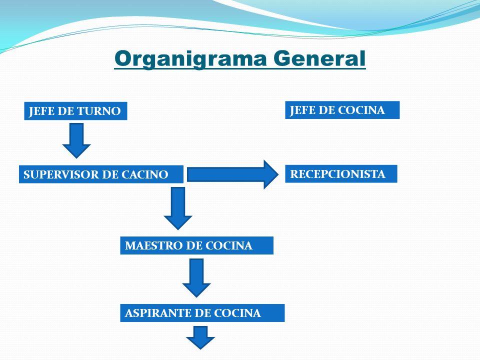 Organigrama General JEFE DE TURNO JEFE DE COCINA SUPERVISOR DE CACINO RECEPCIONISTA MAESTRO DE COCINA ASPIRANTE DE COCINA
