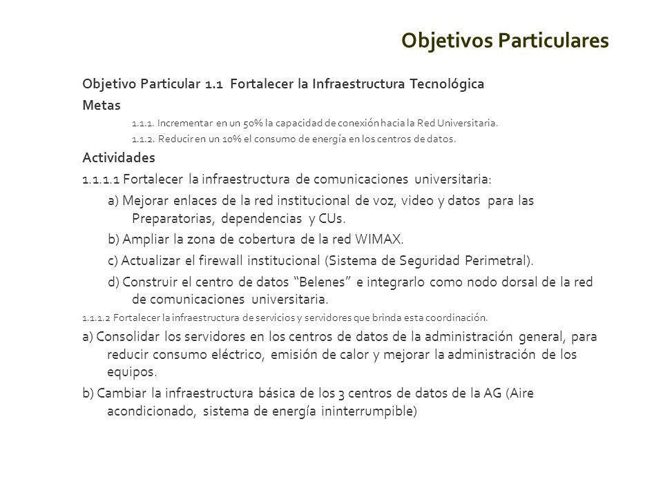 Objetivo Particular 1.1 Fortalecer la Infraestructura Tecnológica Metas 1.1.1.