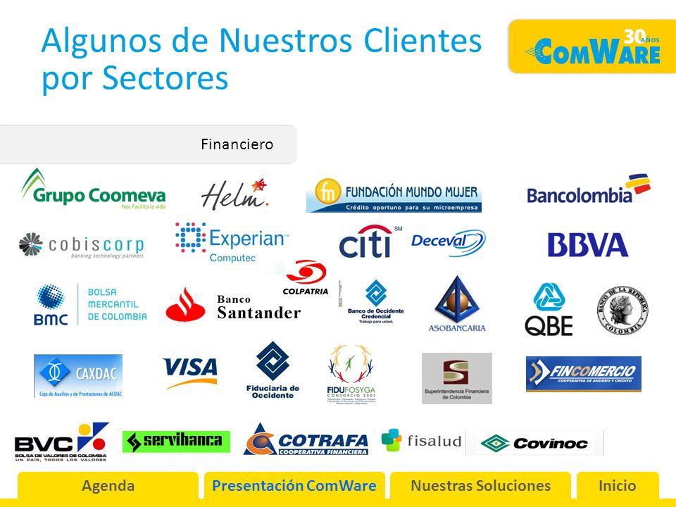 Algunos de Nuestros Clientes por Sectores Financiero AgendaPresentación ComWareNuestras SolucionesInicio
