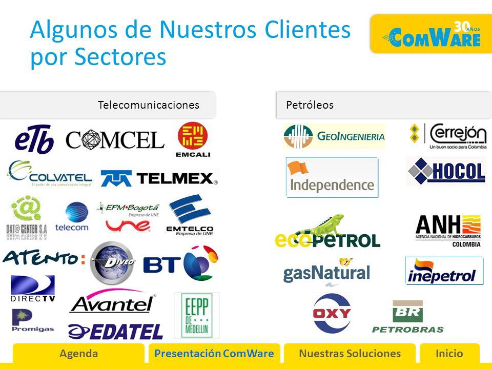 Algunos de Nuestros Clientes por Sectores Telecomunicaciones Petróleos AgendaPresentación ComWareNuestras SolucionesInicio