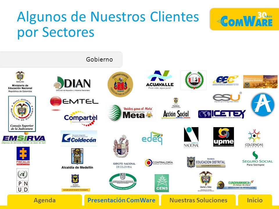Algunos de Nuestros Clientes por Sectores Gobierno EJERCITO NACIONAL DE COLOMBIA EJERCITO NACIONAL AgendaPresentación ComWareNuestras SolucionesInicio
