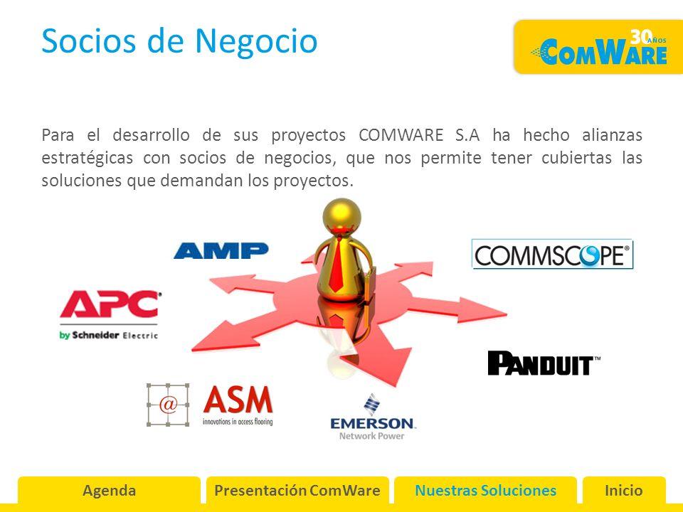Socios de Negocio Para el desarrollo de sus proyectos COMWARE S.A ha hecho alianzas estratégicas con socios de negocios, que nos permite tener cubiertas las soluciones que demandan los proyectos.
