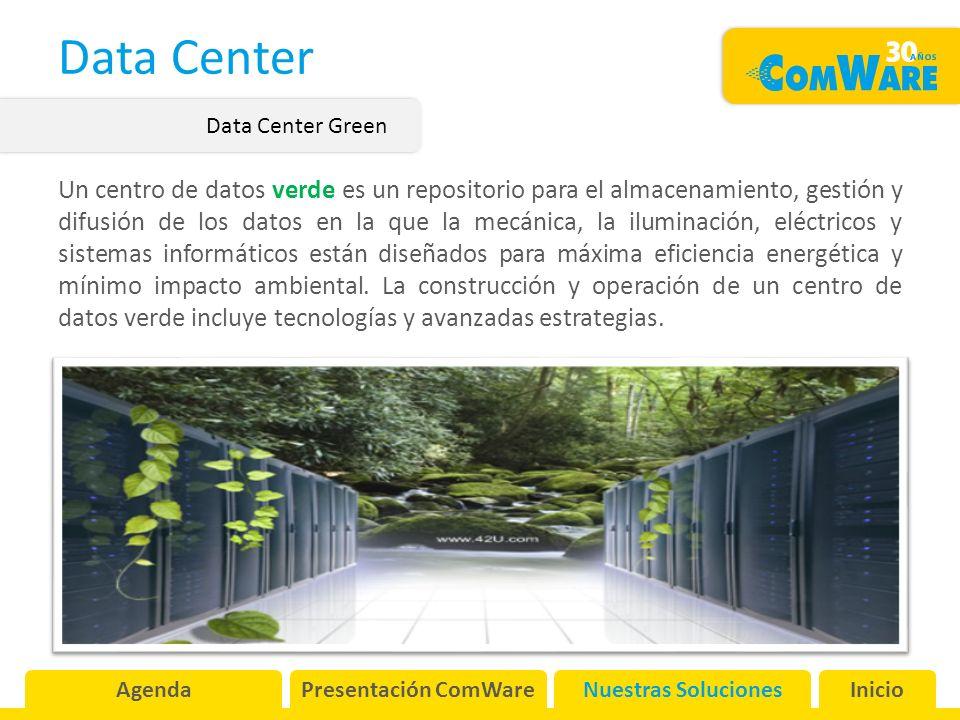 Data Center Un centro de datos verde es un repositorio para el almacenamiento, gestión y difusión de los datos en la que la mecánica, la iluminación, eléctricos y sistemas informáticos están diseñados para máxima eficiencia energética y mínimo impacto ambiental.