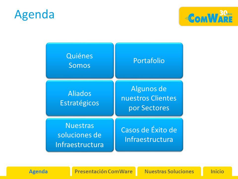 Agenda Presentación ComWareNuestras SolucionesInicio Quiénes Somos Quiénes Somos Portafolio Algunos de nuestros Clientes por Sectores Algunos de nuestros Clientes por Sectores Aliados Estratégicos Aliados Estratégicos Nuestras soluciones de Infraestructura Nuestras soluciones de Infraestructura Casos de Éxito de Infraestructura Casos de Éxito de Infraestructura