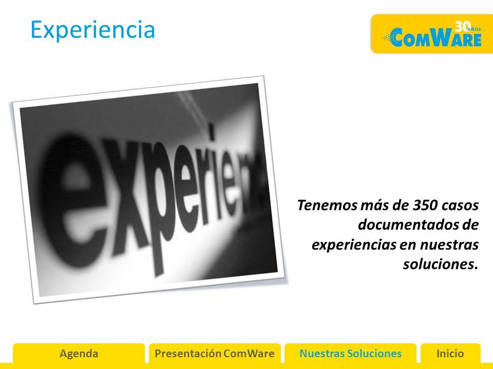 Experiencia AgendaPresentación ComWareNuestras SolucionesInicio Tenemos más de 350 casos documentados de experiencias en nuestras soluciones.