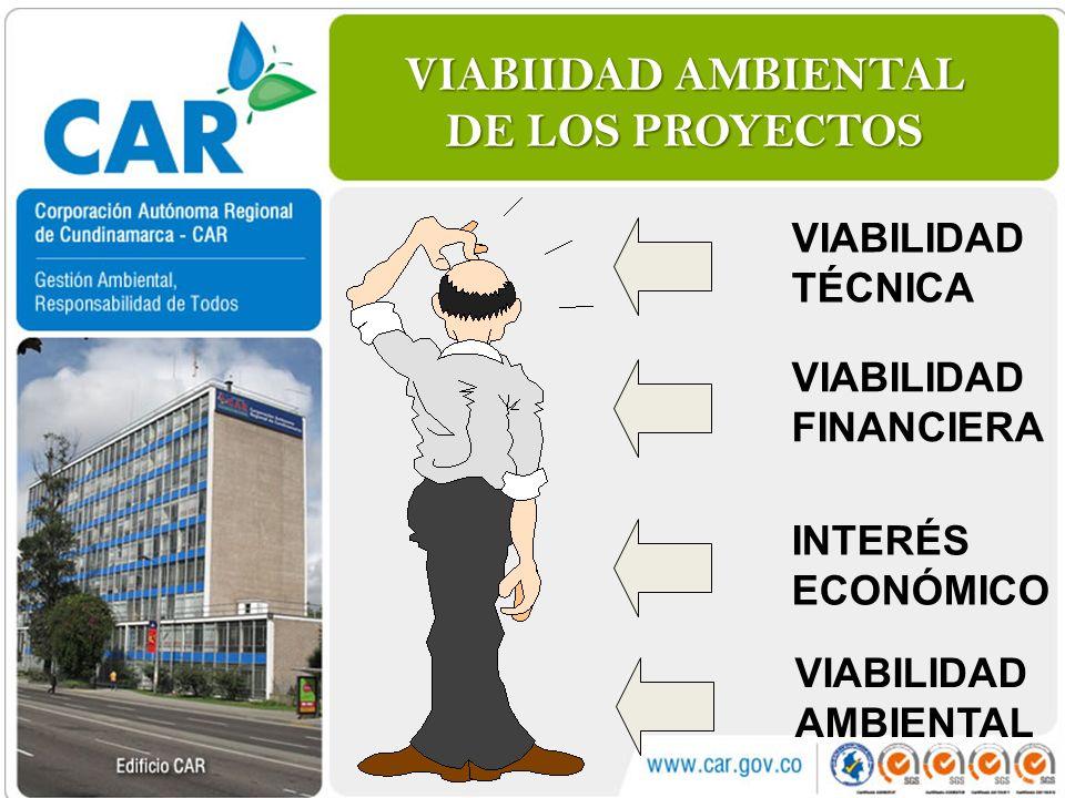 VIABIIDAD AMBIENTAL DE LOS PROYECTOS VIABILIDAD TÉCNICA VIABILIDAD FINANCIERA INTERÉS ECONÓMICO VIABILIDAD AMBIENTAL