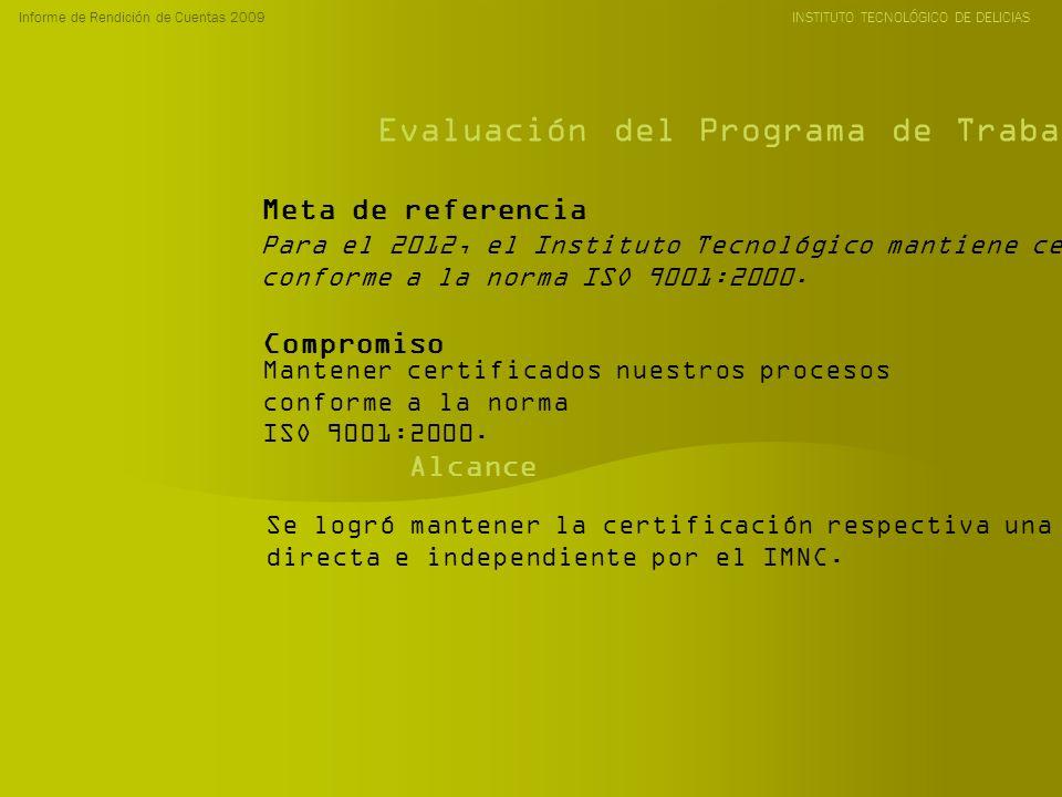 Informe de Rendición de Cuentas 2009 INSTITUTO TECNOLÓGICO DE DELICIAS Evaluación del Programa de Trabajo Anual 2009 Para el 2012, el Instituto Tecnol
