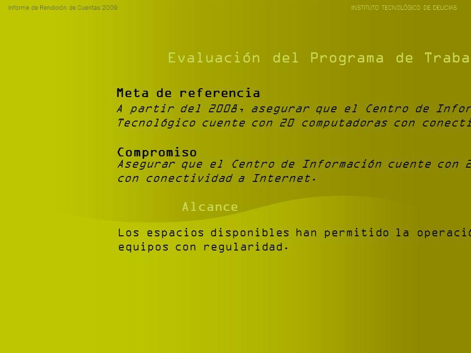 Informe de Rendición de Cuentas 2009 INSTITUTO TECNOLÓGICO DE DELICIAS Evaluación del Programa de Trabajo Anual 2009 A partir del 2008, asegurar que el Centro de Información del Instituto Tecnológico cuente con 20 computadoras con conectividad a Internet.