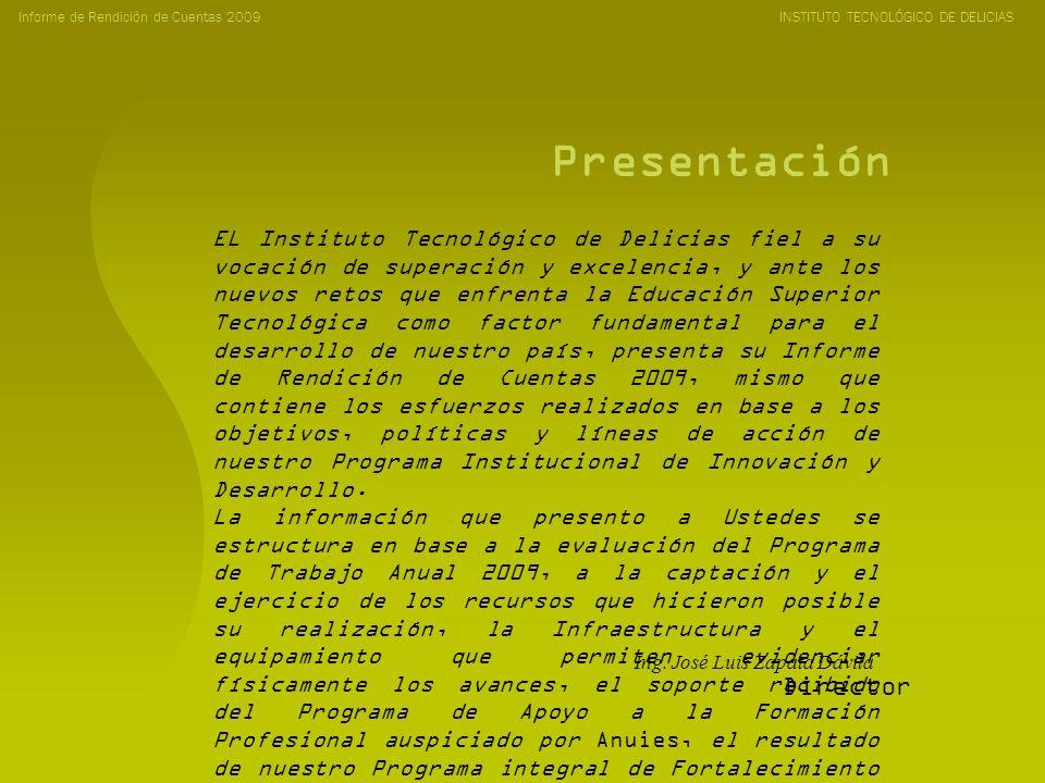 Contenido Informe de Rendición de Cuentas 2009 INSTITUTO TECNOLÓGICO DE DELICIAS Evaluación del Programa de Trabajo Captación y Ejercicio de Recursos Infraestructura y Equipamiento Programa de Apoyo a la Formación Profesional ANUIES Programa Integral de Fortalecimiento Plazas radicadas