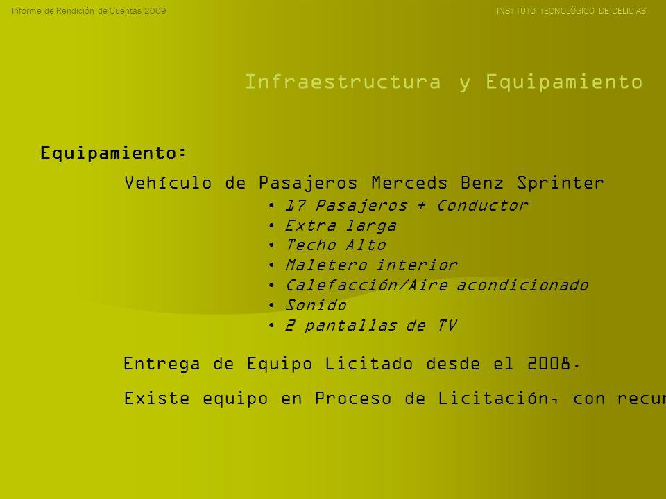 Informe de Rendición de Cuentas 2009 INSTITUTO TECNOLÓGICO DE DELICIAS Infraestructura y Equipamiento Equipamiento: Vehículo de Pasajeros Merceds Benz