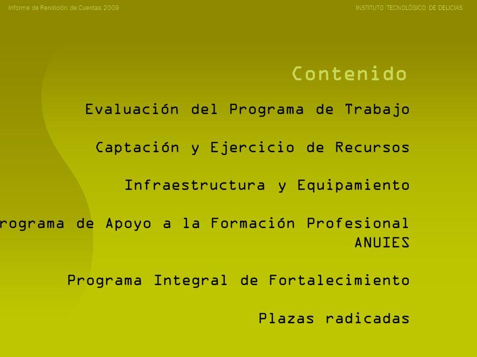 Contenido Informe de Rendición de Cuentas 2009 INSTITUTO TECNOLÓGICO DE DELICIAS Evaluación del Programa de Trabajo Captación y Ejercicio de Recursos