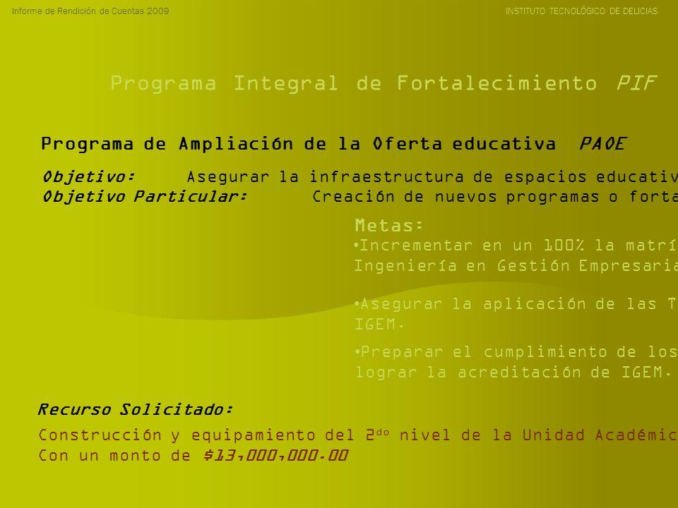 Informe de Rendición de Cuentas 2009 INSTITUTO TECNOLÓGICO DE DELICIAS Programa Integral de Fortalecimiento PIF Programa de Ampliación de la Oferta educativa PAOE Objetivo: Asegurar la infraestructura de espacios educativos que permita atender la demanda educativa.