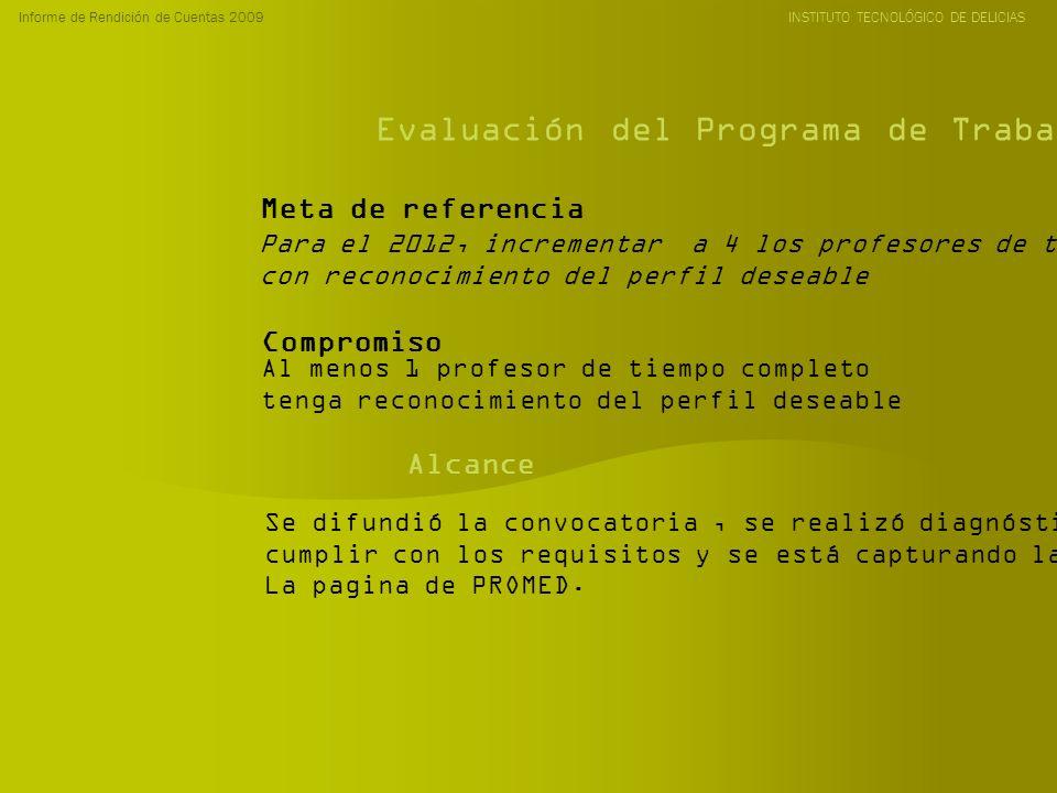 Informe de Rendición de Cuentas 2009 INSTITUTO TECNOLÓGICO DE DELICIAS Evaluación del Programa de Trabajo Anual 2009 Para el 2012, incrementar a 4 los