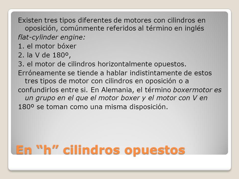 En h cilindros opuestos Existen tres tipos diferentes de motores con cilindros en oposición, comúnmente referidos al término en inglés flat-cylinder engine: 1.