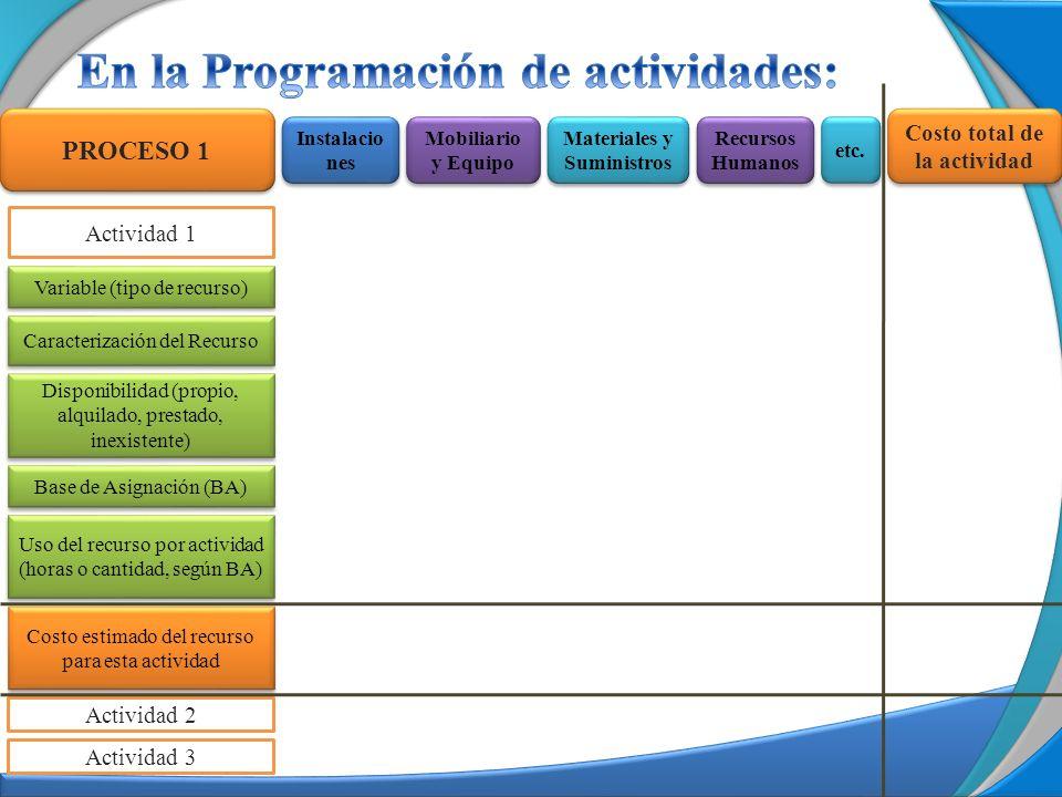 Actividad 1 Actividad 2 PROCESO 1 Variable (tipo de recurso) Base de Asignación (BA) Disponibilidad (propio, alquilado, prestado, inexistente) Uso del