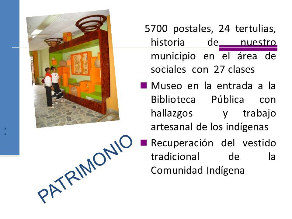 : 5700 postales, 24 tertulias, historia de nuestro municipio en el área de sociales con 27 clases Museo en la entrada a la Biblioteca Pública con hall