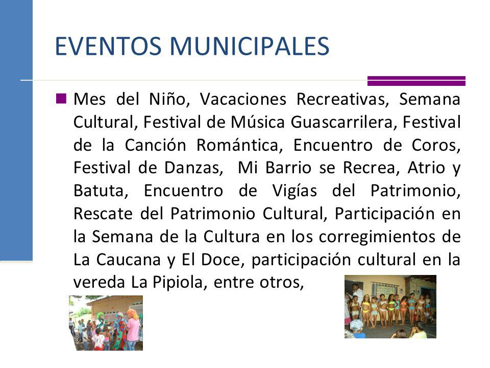 EVENTOS MUNICIPALES Mes del Niño, Vacaciones Recreativas, Semana Cultural, Festival de Música Guascarrilera, Festival de la Canción Romántica, Encuent